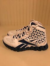 Boy's Blue and White Zig Zag Slash Reebok High Top Shoes. Good condition!