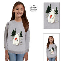 Girls Polar Bear 3D Sequin Christmas Jumper Kids Novelty Festive Knitted Sweater