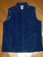 BonWorth Fine Wale Corduroy Blue Zip Front Vest  Size S Small