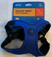 Gooby Escape Free Sport Dog Harness or Matching Leash, Blue Size Large