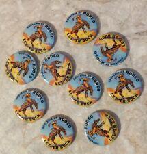 "LOT of 10 Souvenir Of Rodeo Let' Er Buck 1.25"" Vintage Buttons Cowboy Pin"