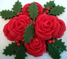 RED ROSES WITH HOLLY AND BERRIES Edible Christmas cake topper decoration