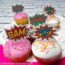 12 Super Papá Comic comestibles Pop Top Cupcake Toppers | Padres Día | Cumpleaños