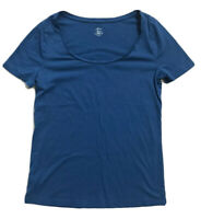 Ann Taylor LOFT Short Sleeve T Shirt Scoop Neck Blue Small S Cotton Modal