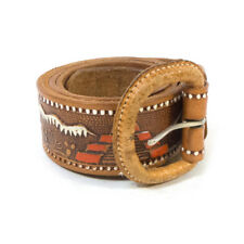 Vintage MEXICO Quality Leather Fashionable Patterned Brown Belt Waist (38)
