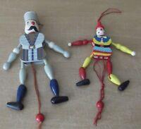 Lote de dos 2 Muñeco articulado madera, marioneta juguete vintage