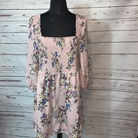 Xhilaration Womens Pink Floral Print  Sleeve Blouson Dress