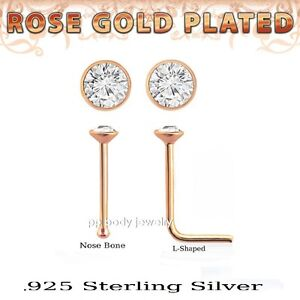 2pcs. 22G 1.5mm Flat CZ Top Rose Gold Plated 925 Sterling Silver Nose Studs
