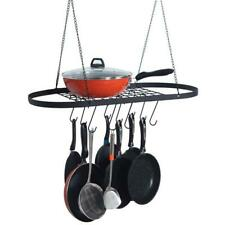 Pot and Pan Rack for Ceiling with Hooks— Decorative Oval Mounted Storage Rack
