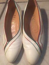 Vintage White Fendi Shoes with Rainbow Trim Size 10 M