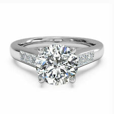 14k White Gold 0.65 Ct Round Baguette Cut Diamond Ring