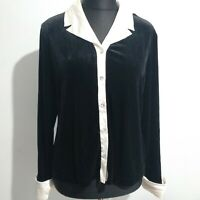 Ronni Nicole Black Velvet and White trim shirt size 16 Diamante Buttons By Quida