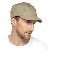Unisex Lightweight Cotton Linen Army Caps for Adults Flat Caps-Olive Size L/XL