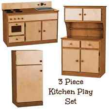 3 PIECE KITCHEN PLAY SET - NATURAL WALNUT Amish Handmade Toy Furniture USA MADE