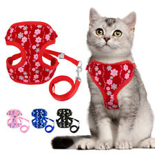 Escape Proof Cat Walking Jacket Harness Leash Mesh Vest Sequins Adjustable S L