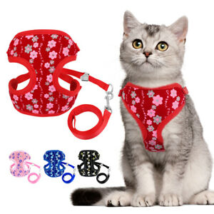 Cat Walking Jacket Harness&Leash Escape Proof Mesh Clothes Pet Dog Puppy Vest