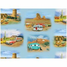 Sisters on the Fly Campers in Desert By The yard Cotton Vintage Trailers Blue sk