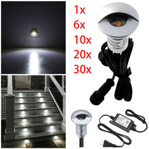 26mm LED Deck Light Inground Outdoor Garden Stair Step Fence Cold White 12V