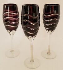 Amethyst Purple Cut Crystal Champagne Flutes Swirl Design Lot of Three