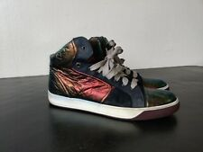 LANVIN  Men's Cap Toe High-Top Italian Leather Sneakers Size 10 Iredescent