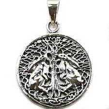 .925 Solid Sterling Silver Moon Gazing Hares Tree of Life Wiccan Pendant P037