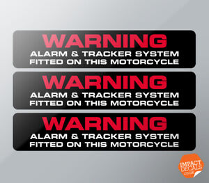 Motorcycle Alarm & Tracker Fitted Stickers - Set of 3.100x20mm.