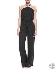 NWT Tory Burch Milos Silk Jumpsuit Romper Black Polka Dot Georgette Small NEW