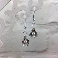 Silver Pearl & Shell Earrings, Drop Dangle Hook, Dainty Simple Elegant, Beach