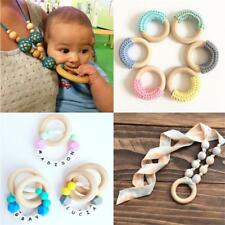 5x 70MM Wooden Crafts Teething Rings Connectors Circle Natural Wood Kids Teether