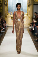 RED CARPET NEW $1500 ELISABETTA FRANCHI ITALY BRONZE GOLD BODYCON  DRESS 42/6