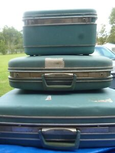 3Pc Vintage Samsonite Silhouette Luggage Set Blue
