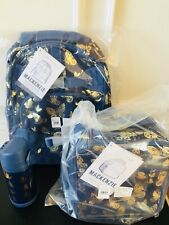 Pottery Barn Kids Butterflies Small Backpack Lunchbox Bottle New Navy Gold Foil