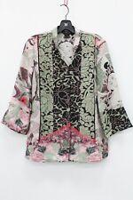 Citron Santa Monica Green & Print Deity Print Silk Shirt  Blouse Size S