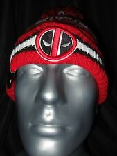 Adult New Era Deadpool Marvel Comica Ninja Merc Red Knit Pom Beanie Cap Ski Hat