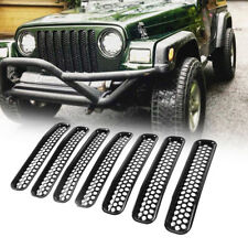 97-06 Jeep Wrangler TJ LJ Mattle Black Grille Inserts Mesh Grille Guards - 7PCS