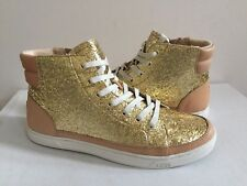 UGG GRADIE GLITTER GOLD ANKLE SNEAKERS LEATHER SHOE US 9.5 / EU 40.5 / UK 8