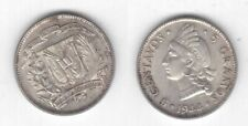 DOMINICAN REPUBLIC - SILVER 5 CENTAVOS UNC COIN 1944 YEAR KM#18a