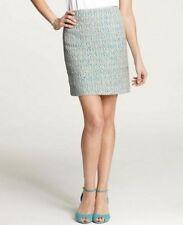 32c7739d77 Women's Sz 10 Ann Taylor Parrot Blue / Green / Cream Windsor Tweed Pencil  Skirt