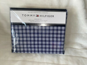 Tommy Hilfiger Blue White Plaid Gingham Queen Sheet Set 4 Pc