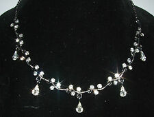 STUNNING SILVER SUPER SHINY CRYSTAL DROP NECKLACE, FABULOUS GIFT.