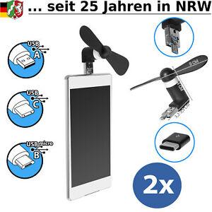 2x Mini Ventilator Micro USB C für Handy Smartphone Powerbank Fan klein leise