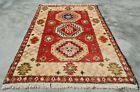 Authentic Hand Woven Veg Dyed Vintage Afghan Chobi Wool Area Rug 3 x 2 Ft