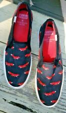 Kate Spade Women's Canvas Slip-On Shoes Keds Black with Red Fox size 6 Canvas