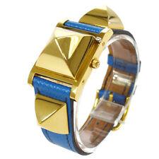 HERMES Medor Leather Belt Wristwatch Watch Quartz Blue Courcheval ◯Y GS01622j