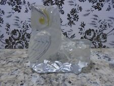 """Vintage""""VIKING"""" Solid Art Glass Clear/Frosted Owl with Label Pre-owned"""