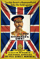 WW1 RECRUITING POSTER NEW A4 PRINT CANADIAN ARMY KITCHENER MONTREAL CANADA