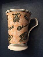 Harrods Fine Bone China Coffee Tea Mug TEA POT CUP STRAINER  Made in England