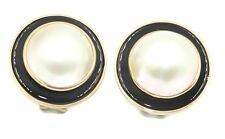 Mabe White Pearl Earrings with Black Onyx and 14k Yellow Gold Omega Backs