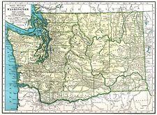 1949 Antique Washington Map of Washington State Map Gallery Wall Art 3995