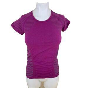 Athleta Womens Active Pullover Top Purple Stripe Short Sleeve Crew Neck XS New